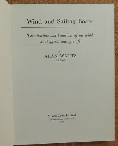 Wind and Sailing Boats Alan Watts 1960s book weather conditions for sailors 1965
